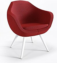 Schalensessel Hotel Club Bar Designer hochwertig Webstruktur Sessel OLIN 4NW, Farbe:Rot - L60