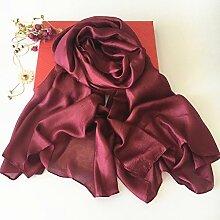 Schals Niederlande Leinen Seide Sonnenschutz Strandtuch Schals Frauen Hochwertige Reine Farbe Schals , Rotwein