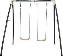 Schaukel Metal Double Swing Anthrazit, Weiß