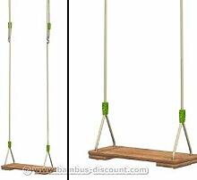 Schaukelsitz aus naturbelassenen Hartholz, höhenverstellbares farbiges Seil aus Kunststoff - Kinderspielgeräte für Garten, Spielgeräte für Kinder, Spielturm, Spieltürme