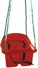 Schaukelsitz / Schaukelsessel für Baby mit Gurt draußen/outdoor aus rotem Kunststoff - inkl. Poly Seilen Länge: 2,1m
