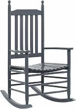 Schaukelstuhl mit gebogener Sitzflache Grau Holz