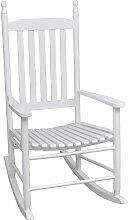 Schaukelstuhl mit gebogener Sitzfläche Weiß Holz
