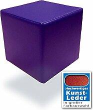 Schaumstoffwürfel in Violett mit hochwertigem Kunstlederbezug und Qualitätsschaumstoff 40 x 40 x 40 cm. Kinder Spielspaß, Sitzhocker, Sitzwürfel, Schaumstoffwürfel. (Violett)