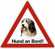 Schecker Auto Aufkleber Bearded Collie Hund an