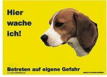 Schecker Warnschild Beagle Hier wache ich gelb 28
