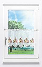 Scheibengardine aus Plauener Spitze - Sonnenblume