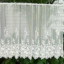 Scheibengardine Bistrogardinen mit Blume-Stickerei