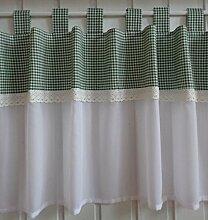 Scheibengardine Landhaus Karo Grün Weiß mit