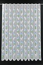 Scheibengardine mit Enzian 180 cm hoch | Breite
