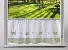 Scheibengardine Schmetterlinge grün Punkte weiß