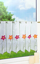 Scheibengardine  von LYSEL® - Blume mit Knopf