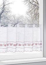 Scheibengardine Winterherz, weiß (H/B: 30/120 cm)