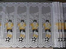 Scheibengardinenstoff mit Fußballspieler in gelb