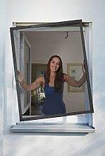 Schellenberg 70081 Insektenschutz-Fenster TELESCOPE Fiberglas-Fliegengitter mit Rahmen aus Aluminium, teleskopierbar – max. 140 x 150 cm in Anthrazi