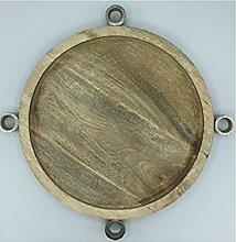 Scheulen Holz Kerzenteller für Stabkerzen Adventskranz Holzteller 35 cm
