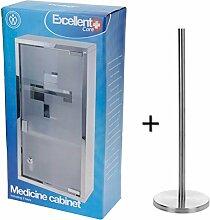 Schick aussehender Medikamentenschrank Medizinschrank groß abschließbar aus rostfreiem Edelstahl 48 cm hoch, Arzneischrank plus gratis Hygienepapierhalter