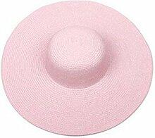 Schick Frauen Sommer Großer Hut Sand Strand Sonnenschutz Strohhut Mütze Rosa