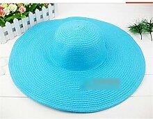 Schick Frauen Sommer Großer Hut Sand Strand Sonnenschutz Strohhut Mütze Hellblau