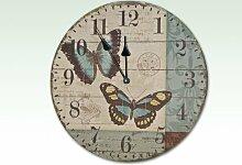 Schicke Wanduhr mit Schmetterlingsmotiv 34cm
