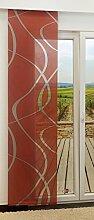 Schiebegardine von LYSEL® - Coloma transparent mit Linien in den Maßen 245 cm x 60 cm rot/korallenro