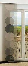Schiebegardine von LYSEL® - Doppler transparent mit Kreisen in den Maßen 245 cm x 60 cm grau