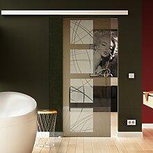 Schiebetür in Glas 205x77,5 cm (HxB) Dessin: