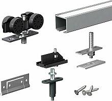 Schiebetürbeschlag FALTSYSTEM SLID'UP 150, Laufschiene 120 cm, für 1 Tür (2 Paneele) bis 40 kg, für Falttüren, Schränke