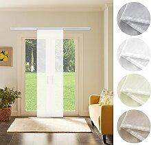 Schiebevorhang Schiebegardine Weiß Transparent 60cm x 245cm Flächenvorhang Gardine