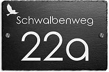 Schiefer Hausnummer & Straße Namen Wunsch-Gravur