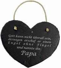 Schieferherz Papa Spruch Vatertag Geburtstag Geschenk Vater Herz