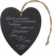 Schieferherz zur Hochzeit mit Gravur Herzen -