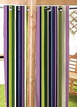 """Schifahren Streifen wasserfest Garten Öse Vorhang Panel 55 """" x108"""