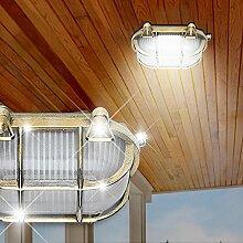 Schiffs Decken Leuchte AUSSEN Ø230mm/ Antik/ Maritim/ Golden/ Messing/ Lampe Aussenlampe Aussenleuchte Deckenlampe Deckenleuchte Schiffslampe Schiffsleuchte