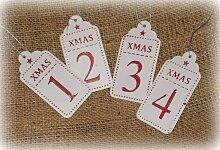 Schild 'X-Mas 1-4' aus Metall rot 4er-Set