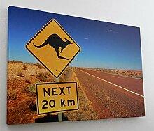 Schild Australien Outback Leinwand Canvas Bild
