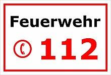 Schild Feuerwehr 112 Notruf Telefon – 15x20cm,