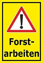 Schild - Forstarbeiten - 60x40cm mit Bohrlöchern