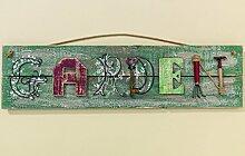 Schild Garden Holz/Metall grün Länge 83 cm, Garten, Gartendeko, Türschild, verwaschen