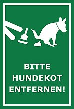 Schild – Hier ist kein Hundeklo – Bitte Hundekot entfernen – 15x10cm, 30x20cm und 45x30cm – Bohrlöcher Aufkleber Hartschaum Aluverbund -S00187-029-G