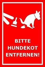 Schild – Hier ist kein Hundeklo – Bitte Hundekot entfernen – 15x10cm, 30x20cm und 45x30cm – Bohrlöcher Aufkleber Hartschaum Aluverbund -S00187-029-D