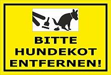 Schild – Hier ist kein Hundeklo – Bitte Hundekot entfernen – 15x10cm, 30x20cm und 45x30cm – Bohrlöcher Aufkleber Hartschaum Aluverbund -S00187-028-C