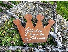 Schild Krone mit Beschriftung Blech Edelros