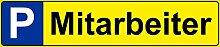 Schild - Mitarbeiter - Parkplatz Kfz Kennzeichen