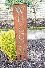Schild Rost Welcome Willkommen !!! Höhe 117cm !!! Stecker Metall Edelrost Skulptur eckig Deko Garten