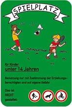 Schild Spielplatz für Kinder unter 14 Jahren..., grün, Alu, 60x40 cm