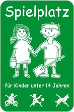 Schild Spielplatz für Kinder unter 14 Jahren, Alu, 60x40 cm