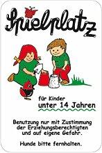 Schild Spielplatz für Kinder unter 14 Jahren ..., weiß, Alu, 60x40 cm