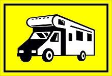 Schild – Wohnmobil – 15x20cm, 30x20cm und 45x30cm – Bohrlöcher Aufkleber Hartschaum Aluverbund -S00204C
