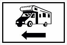 Schild – Wohnmobil Pfeil nach links– 15x20cm,